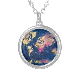 Colar Banhado A Prata OCEANOS e continentes do mapa do mundo