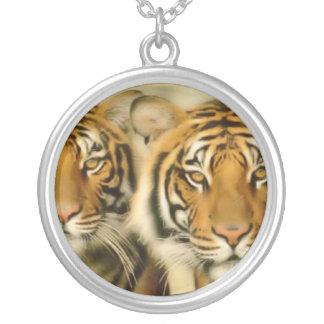 Colar Banhado A Prata Olhos do tigre