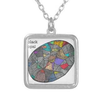 Colar Banhado A Prata Opal preto