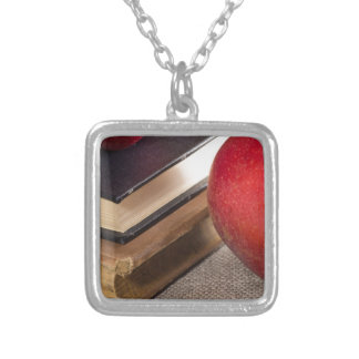 Colar Banhado A Prata Opinião do fim-acima das maçãs vermelhas e velho
