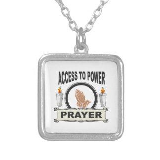 Colar Banhado A Prata oração o acesso ao poder