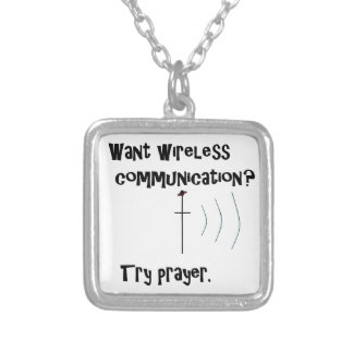 Colar Banhado A Prata Oração sem fio de uma comunicação