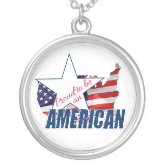 Colar Banhado A Prata Orgulhoso ser um americano