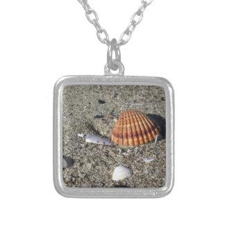 Colar Banhado A Prata Os Seashells no verão da areia encalham a opinião
