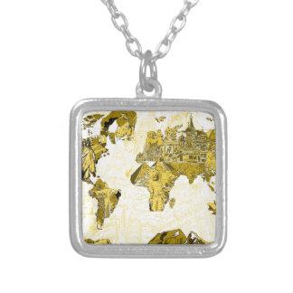 Colar Banhado A Prata ouro do mapa do mundo
