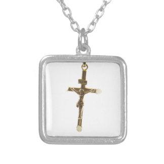 Colar Banhado A Prata Ouro transversal do Jesus Cristo horizontal