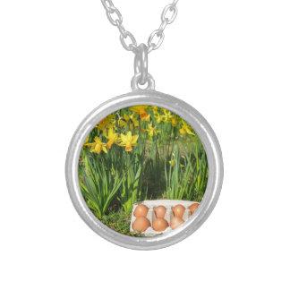 Colar Banhado A Prata Ovos na caixa na grama com daffodils amarelos