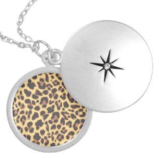 Colar Banhado A Prata Padrões da pele animal do impressão do leopardo