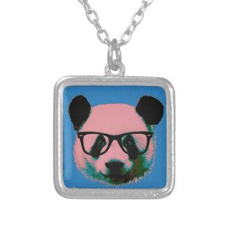 Colar Banhado A Prata Panda com vidros no azul