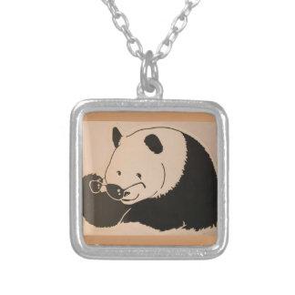Colar Banhado A Prata Panda legal com máscaras