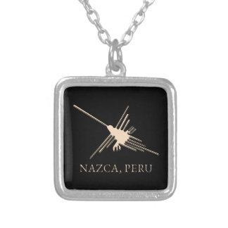Colar Banhado A Prata Papel de jornal de Geoglyph do colibri de Nazca