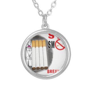 Colar Banhado A Prata Pare de fumar lembretes - não mais bumbuns