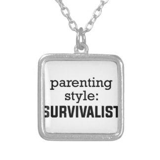 Colar Banhado A Prata Parentalidade do Survivalist