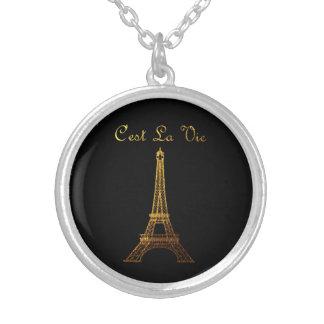 Colar Banhado A Prata Paris: O La de C'est Vie