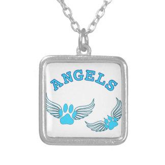 Colar Banhado A Prata Patas do animal de estimação do anjo no azul