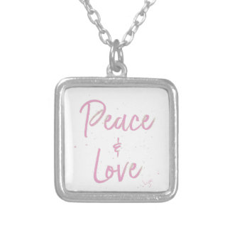 Colar Banhado A Prata Paz-e-Amor-Cor-de-rosa