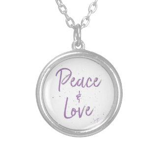 Colar Banhado A Prata Paz-e-Amor-Roxo