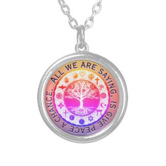 Colar Banhado A Prata Paz religiosa dos símbolos do arco-íris