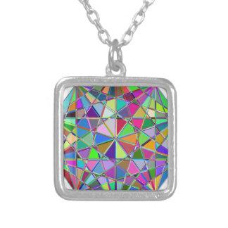 Colar Banhado A Prata Pedra de gema tirada Kaleidescope colorida