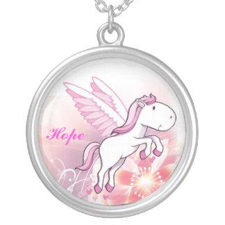 Colar Banhado A Prata Pegasus voou o cavalo - esperança