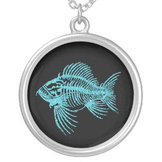 Colar Banhado A Prata Peixes fósseis