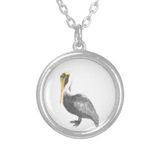 Colar Banhado A Prata Pelicano de Brown