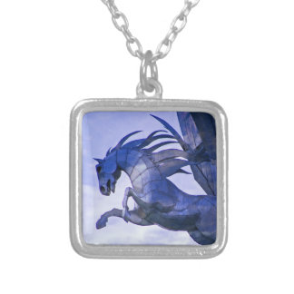 Colar Banhado A Prata Pendente azul do cavalo