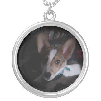 Colar Banhado A Prata Pendente bonito do cão de filhote de cachorro