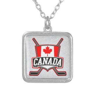 Colar Banhado A Prata Pendente da bandeira do hóquei de Canadá do
