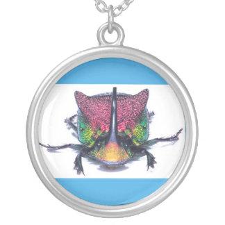 Colar Banhado A Prata pendente da prata do besouro do arco-íris
