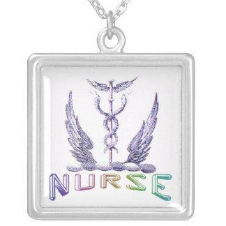 Colar Banhado A Prata Pendente do Caduceus da enfermeira