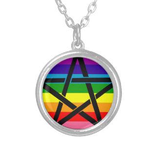 Colar Banhado A Prata Pendente do Pentagram do arco-íris
