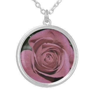 Colar Banhado A Prata Pendente do rosa do rosa, jóia Wedding, chique