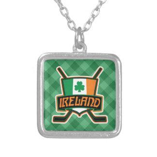 Colar Banhado A Prata Pendente irlandês do logotipo da bandeira do