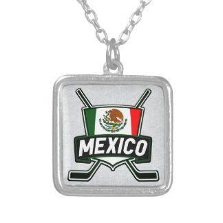 Colar Banhado A Prata Pendente mexicano da bandeira do hóquei em gelo,