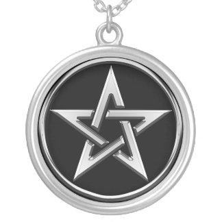 Colar Banhado A Prata Pentagram de prata 2
