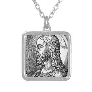 Colar Banhado A Prata Perfil do Jesus Cristo