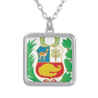 Colar Banhado A Prata Peru - escudo Nacional (emblema nacional)