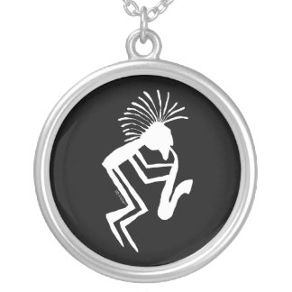 Colar Banhado A Prata Petroglyph do jogador de Kokopelli Saxaphone