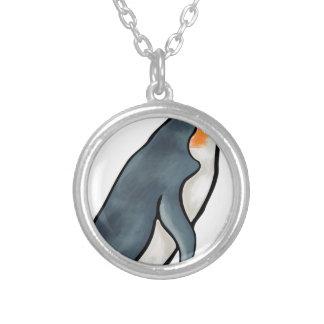 Colar Banhado A Prata Pinguim