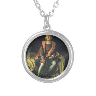 Colar Banhado A Prata Pintura de Cristóvão Colombo por Antonio de
