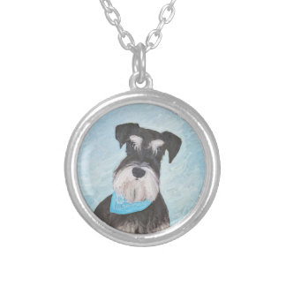 Colar Banhado A Prata Pintura (diminuta) do Schnauzer - cão original