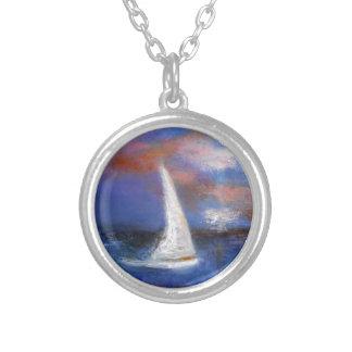 Colar Banhado A Prata Pintura do Seascape da vela do porto do por do sol