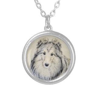 Colar Banhado A Prata Pintura do Sheepdog de Shetland - arte original