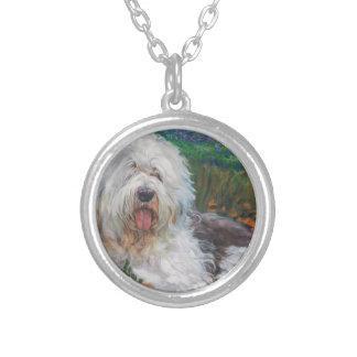 Colar Banhado A Prata Pintura inglesa velha bonita da arte do cão do