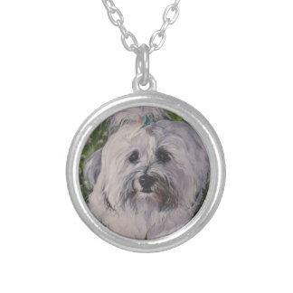 Colar Banhado A Prata Pintura realística bonita da arte do cão de
