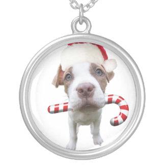 Colar Banhado A Prata Pitbull do Natal - pitbull do papai noel - cão de