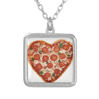 Colar Banhado A Prata pizza dada forma coração