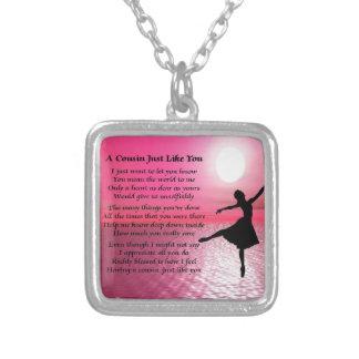 Colar Banhado A Prata Poema do primo - bailarina