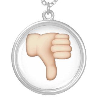 Colar Banhado A Prata Polegares para baixo - Emoji